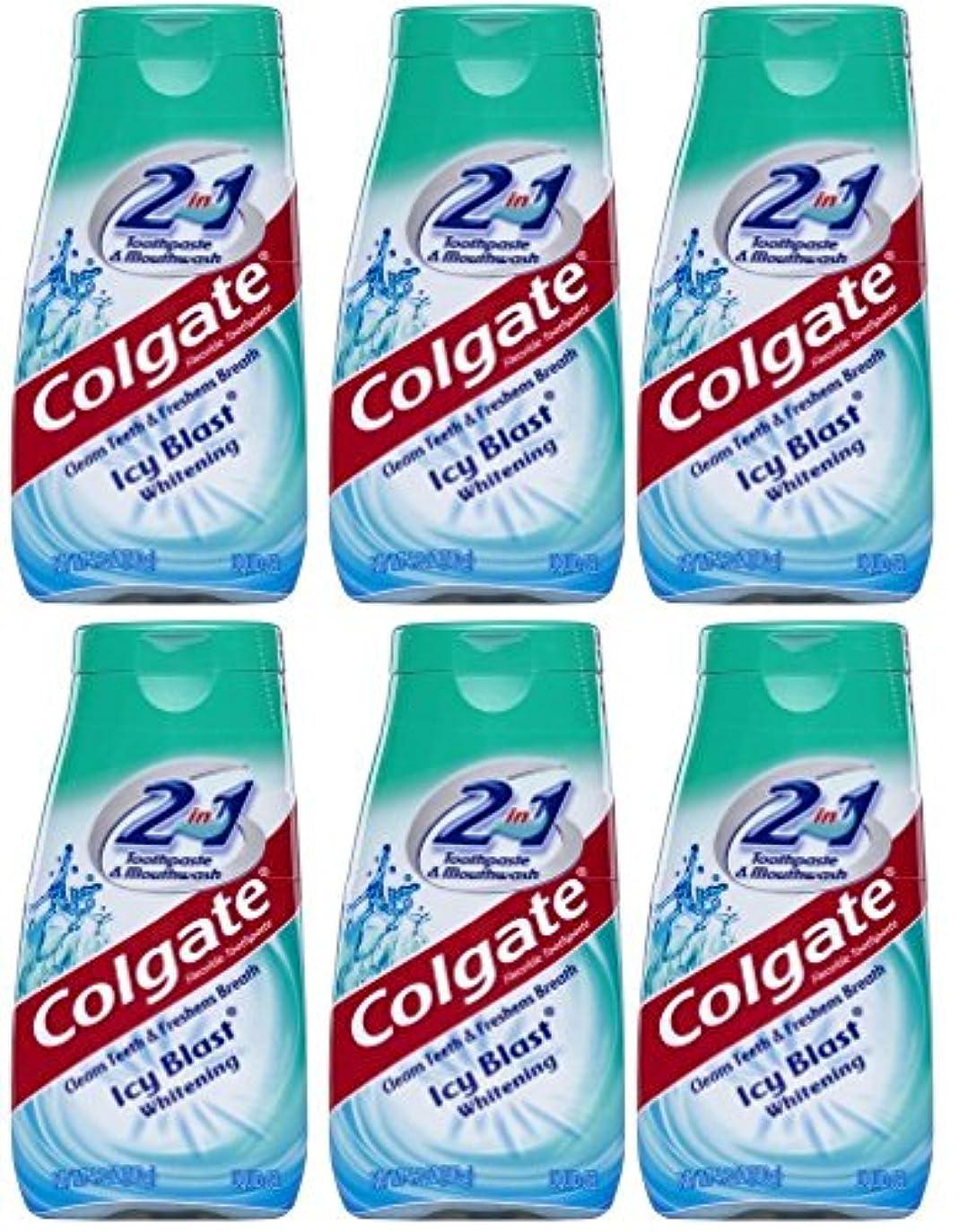 広大な知る旅Colgate 2-IN-1歯磨き粉およびマウスウォッシュ、美白アイシーブラスト、4.6オンスチューブ(6パック) 6パック