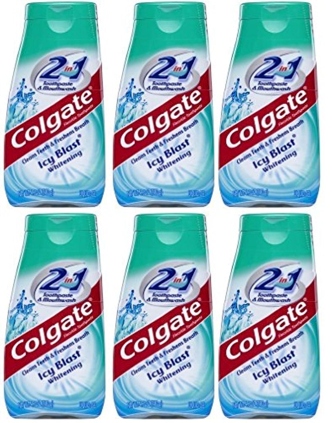 チャーミング移植手がかりColgate 2-IN-1歯磨き粉およびマウスウォッシュ、美白アイシーブラスト、4.6オンスチューブ(6パック) 6パック