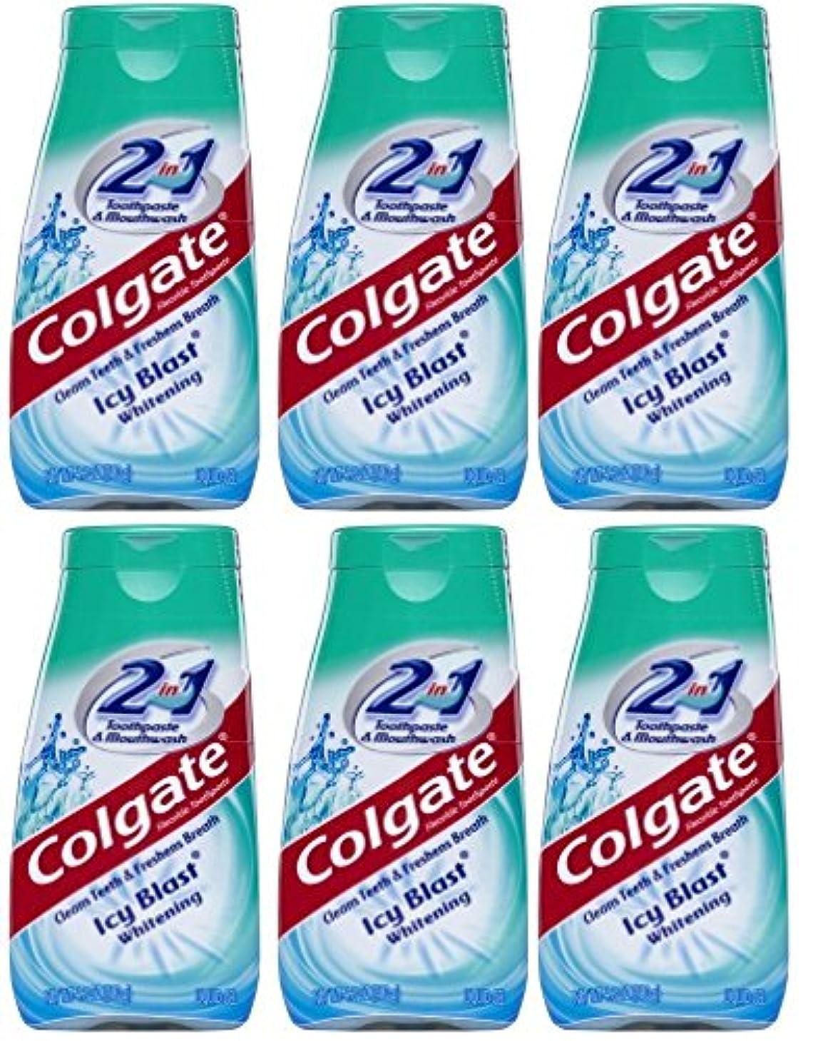 敬意を表して意志ゲージColgate 2-IN-1歯磨き粉およびマウスウォッシュ、美白アイシーブラスト、4.6オンスチューブ(6パック) 6パック