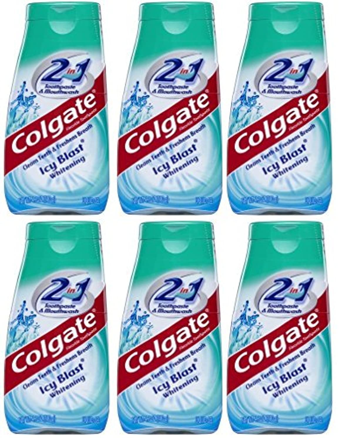 ショートカット分析する整然としたColgate 2-IN-1歯磨き粉およびマウスウォッシュ、美白アイシーブラスト、4.6オンスチューブ(6パック) 6パック