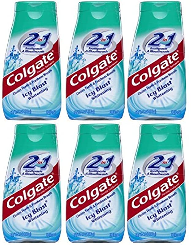 湾青写真姿を消すColgate 2-IN-1歯磨き粉およびマウスウォッシュ、美白アイシーブラスト、4.6オンスチューブ(6パック) 6パック