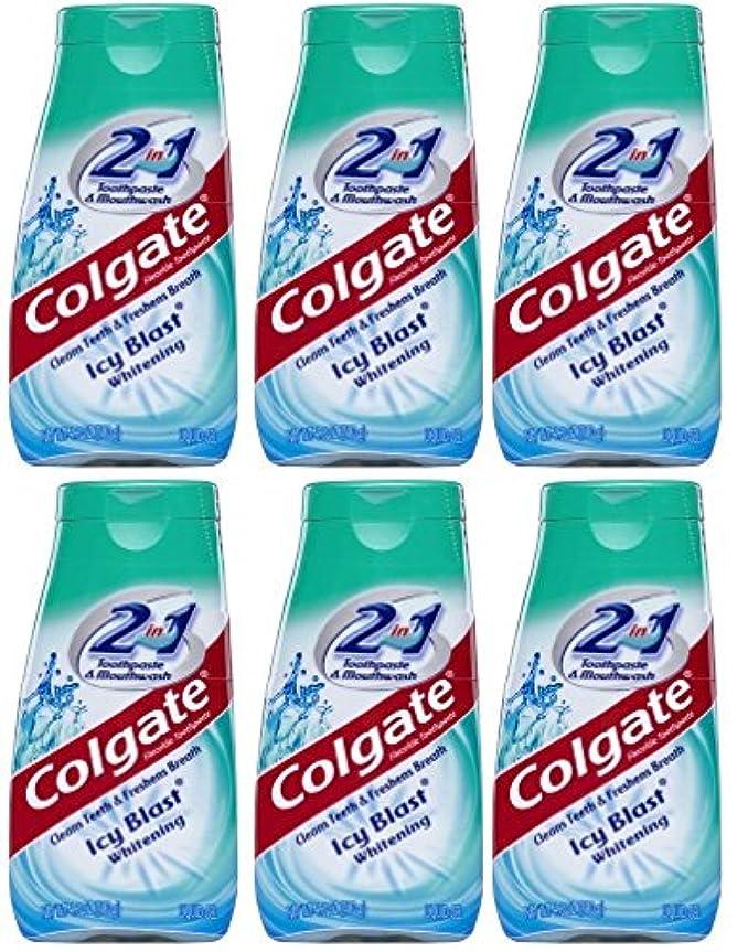 詐欺頭痛マスタードColgate 2-IN-1歯磨き粉およびマウスウォッシュ、美白アイシーブラスト、4.6オンスチューブ(6パック) 6パック