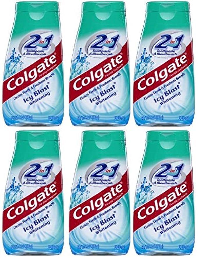 エイズ肉の好むColgate 2-IN-1歯磨き粉およびマウスウォッシュ、美白アイシーブラスト、4.6オンスチューブ(6パック) 6パック