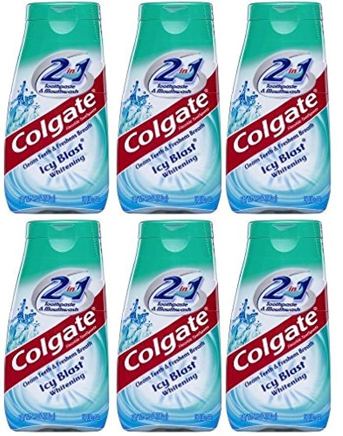 ダッシュ気になるケージColgate 2-IN-1歯磨き粉およびマウスウォッシュ、美白アイシーブラスト、4.6オンスチューブ(6パック) 6パック
