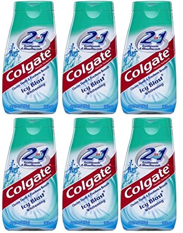 留まる辞任天窓Colgate 2-IN-1歯磨き粉およびマウスウォッシュ、美白アイシーブラスト、4.6オンスチューブ(6パック) 6パック