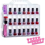 Universal Double Side Transparent Nail Polish Gel Organizer Holder for 48 Bottles Adjustable Space Divider with Two Toe Separ