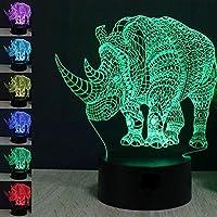 Lovely Wild動物3d Rhino夜間ライトタッチスイッチデコレーションテーブルデスクOptical Illusionランプ7色変更ライトLEDテーブルランプXmasホームLove Brithday子供キッズ装飾おもちゃギフト