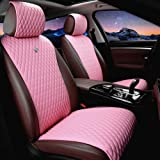 Red Rain Universal Seat Covers for Cars Leather Seat Cover 2/3 Covered Pink Car Seat Cover 11PCS Fit Car/Auto/Truck/SUV (A-Pi