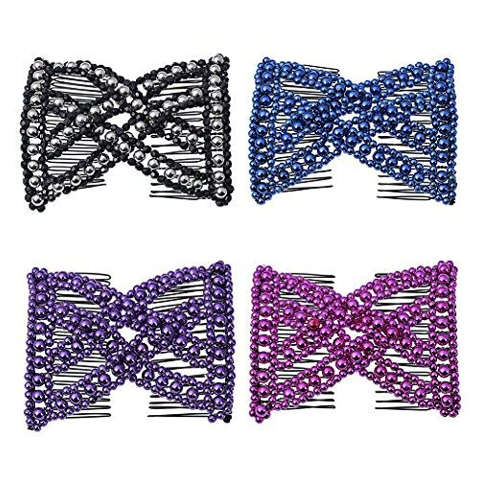 Casualfashion Ez Stretchable Combs, Lady Women Girls Hair Combs, Double Clips Comb, 4-count [並行輸入品]