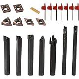 KKmoon 21PCS 旋削工具 多機能ソリッド カーバイド インサートホルダー ボーリング バー 旋盤用レンチ ターニングツール