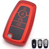 Royalfox(TM) 3 4 5 Buttons TPU Full Protected Smart keyless Entry Remote Key Fob case Cover for 2017 2018 2019 2020 Ford Must