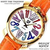 大人可愛いレディース腕時計 金縁 ビッグラウンドフェイス ベルトウォッチ 白 カラフル マルチカラー [tvs308-lady]