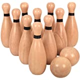 Outdoor Giant Lawn Bowling Games for Family Kids and Adults Backyard Skittles Wooden Yard Game Hardwood Set with 10 Pins 8.9