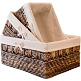 KINGWILLOW Handmade Woven Maize and Hyacinth Storage Basket, (Set of 3)