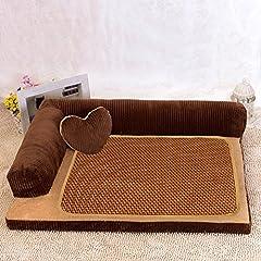 ペット ソファー モコモコ クッション スクエア 安眠 ベッド 犬 猫 寝台  四季通用 マット ぐっすり眠る 休憩所 洗える かわいい ござ 付き 寝床 ブラウン L