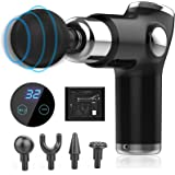 Mini Massage Gun, Deep Tissue Portable Percussion Muscle Massager for Athletes Back, Neck, Heads, 32 Adjustable Speed and LED