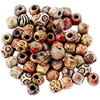 HOMYL Pack 100 Vintage Wooden Beads Mixed Large Hole European Charms Jewelry Making Crafts