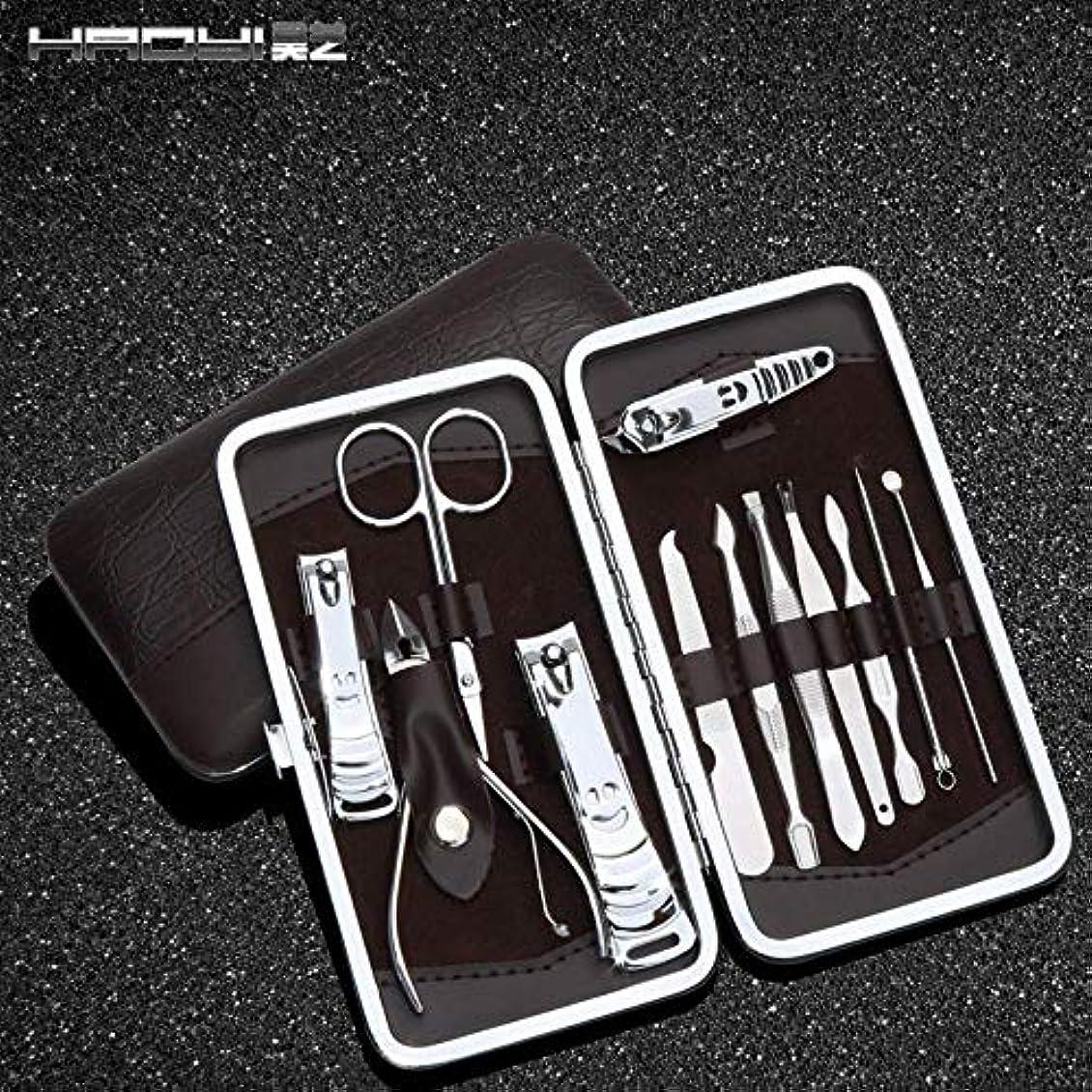 労働可能にする選挙爪切りセット12ステンレス鋼爪切りセット美容マニキュアツール爪切り爪やすり 12ピースのライトストーン柄