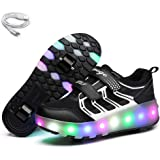 Ehauuo Kids Two Wheels Shoes with Lights Rechargeable Roller Skates Shoes Retractable Wheels Shoes LED Flashing Sneakers for