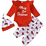 Infant Baby Girl Christmas Outfits My 1st Christmas Romper Bodysuit+Elk Pants+Hat Xmas Clothes Set