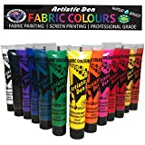 Artistic Den Fabric Paint Textile Set Paint Artistic Den Ideal for Use on Cotton Polyester Silk and Most Synthetic Fabrics Non-Toxic Water Based for Clubbing Festivals Raves Concerts Birthday Parties