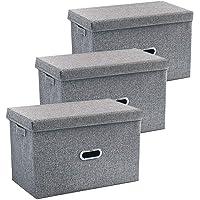 折り畳み 収納ボックス[3点セット]グレー色 収納ケース 整理箱 ふた付き 省スペース おしゃれ 綿麻 PP 水洗い 人…