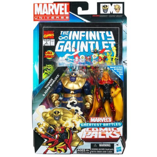 Marvel Universe Thanos and Adam Warlock Figure Comic Pack 4 Inches by Marvel [並行輸入品]