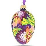 BestPysanky Flowers on Purple Glass Egg Ornament