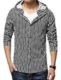 コート ジャケット 男性 メンズ 千鳥格子柄 フード付き 長袖 ブラック ホワイト Sサイズ