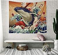 壁掛けタペストリー 和柄 タペストリー とおしゃれ壁掛け 和風 古風 装飾布 インテリア ファブリック装飾品 多機能 和室 玄関 窓 個性ギフト 新年祝い 布地 (150x200cm,C)