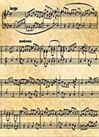 デジタルフォト背景抽象音楽注意シートのシート古い紙ライトブラウンレトロ写真バックドロップ6x 8ft