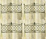 エレガント アイアン スティックフェンス 4枚セット 90cm×70cm ブラック JF092599