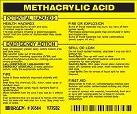 Brady 93564 Vinyl Hazardous Material Label Black On Yellow 3 3/4 Height x 4 1/2 Width Legend Methacrylic Acid (25 Labels per Package) [並行輸入品]