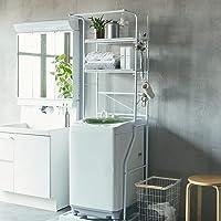 生活雑貨 洗濯機ラック ランドリーラック 棚板1枚+バスケット2個付 幅約59~87cm 伸縮タイプ カゴ付 洗濯棚 オ…