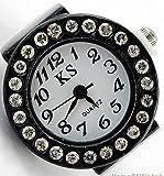 クロックス メンズ COM-SHOT 【 大人 の 指輪 時計 】 フリー サイズ アナログ デザイン 男性 女性 ギフト プレゼント アクセサリー おしゃれ 宝石 【 ブラック 】 MI-NBW0RI6875-BK