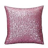 Dovewill 耐久性 枕カバー ファンシー スパンコール ソファ スクエア クッション ケース 工芸品 デコレーション 全7色 - ピンク