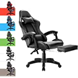 Advwin Executive Gaming Chair Office Computer Racer Recliner Chairs w/Footrest (135°Footrest Black-New)