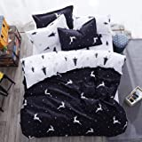 Mengersi Christmas Deer Bedding Pillowcase Duvet Cover Set with Zipper (Full, White Deer)