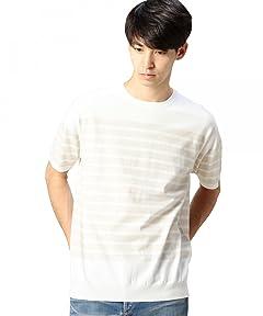 Short Sleeve Fine Gauge Stripe Crewneck Sweater 1218-105-0172: Natural