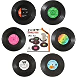 MissRui Set of 6 Vinyl Record Coasters Anti-Scalding Heat Insulation Anti-Slip Placemats Protect Table from Water Marks or Da