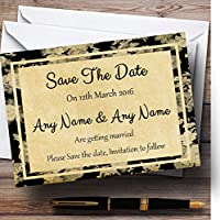 ヴィンテージブラックバラはがきスタイルPersonalized結婚を保存日付カード 50 Invitations