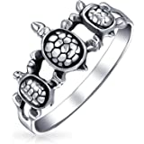 BFF Friendship Three Best Friends Family Sea Turtle Ring Band For Teen For Women 925 Sterling Silver Ring