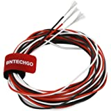BNTECHGO 22 Gauge Silicone Wire Ultra Flexible 10 ft Red 10 ft Black and 10 ft White High Resistant 200 deg C 600V 22 AWG Sil