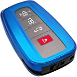 Blue Soft TPU Smart Key Fob Case Holder Jacket Cover Protector for 2018 2019 2020 Toyota Camry RAV4 Avalon C-HR Prius Corolla