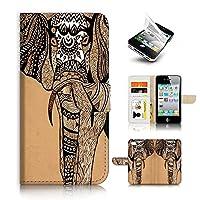 iPhone 4 4S Flip Wallet Case Cover & Screen Protector Bundle! A20055 Aztec Elephant