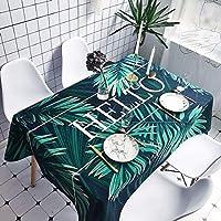手のひらの葉パターン防水のやけど防止綿とリネンのテーブルクロス、サイズ:140 x 140 cm