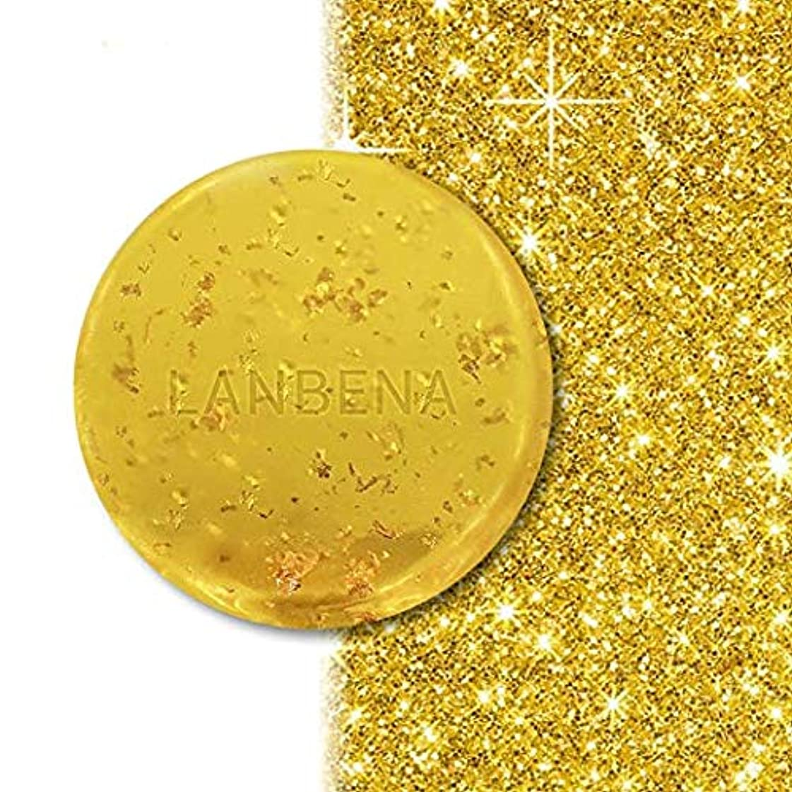 見込み関係ないバス24Kゴールドハンドメイドハーブソープ海藻ディープクレンジングモイスチャライジング肌の美白、しわの発生を最小限に抑える、肌の色合いを引き締める、健康なシャンプー、ファインラインフェイスケア24K Gold Handmade...