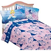[ディズニー]Disney 3pc Cinderella Twin Bed Sheet Set Secret Princess Bedding Accessories MA282C [並行輸入品]