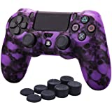 YoRHa Water Transfer Printing Skull Silicone Cover Skin Case for Sony PS4/slim/Pro Dualshock 4 Controller x 1(Purple) with Pr