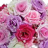 アクテール バラ 造花 花のみ 50個 と パールシャワー 10本 セット (プリンセス カラー)